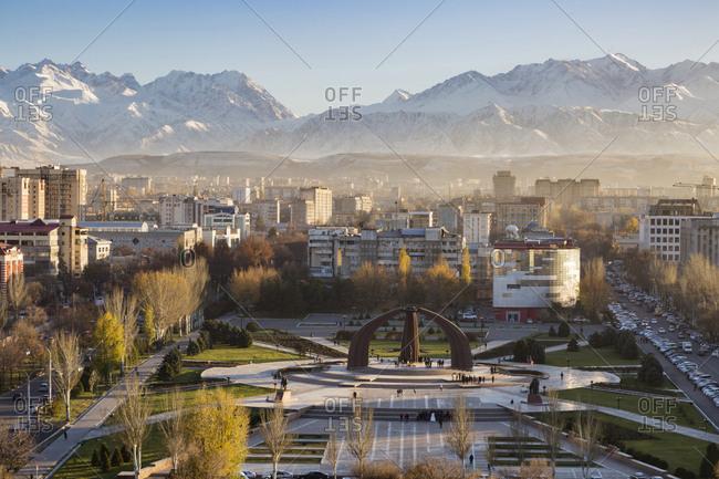 Bishkek, Frunze, Kyrgyzstan - November 5, 2016: Victory Square near Kyrgyz Range, Bishkek, Frunze, Kyrgyzstan