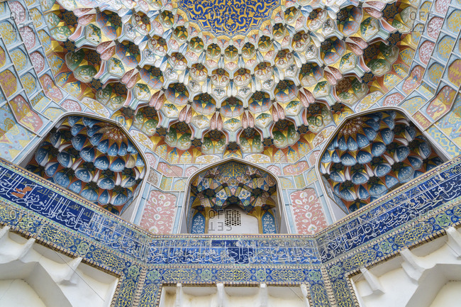 Bukhara, Bukhara, Uzbekistan - November 13, 2016: Ornate ceiling of madrassah