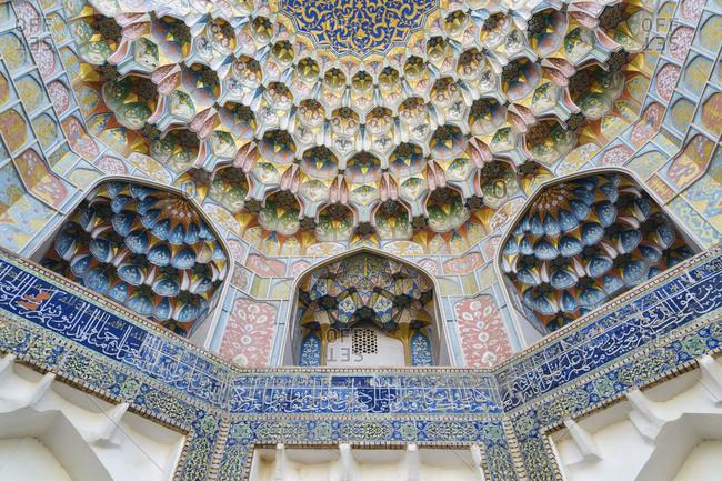 Bukhara, Bukhara, Uzbekistan - November 13, 2016: Ornate ceiling of madrassah