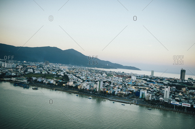 Danang, Vietnam - January 17, 2017: A view over Danang and Son Tra Peninsula in central Vietnam.