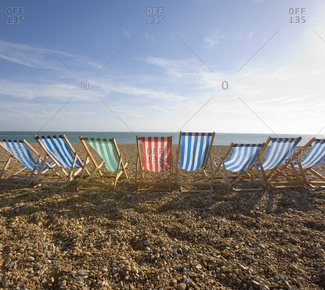 Beach chairs for rent in Brighton, England