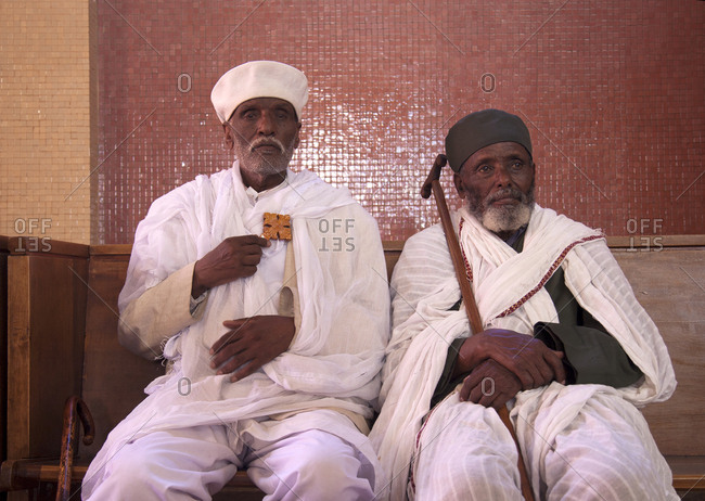 Addis Ababa, Ethiopia - January 17, 2007: Two Christian priests at Easter