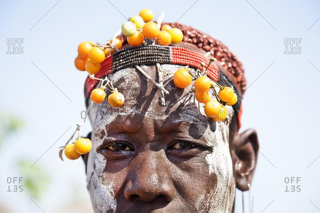 Omo Valley, Ethiopia - January 23, 2007: Detail of headband worn by Karo woman