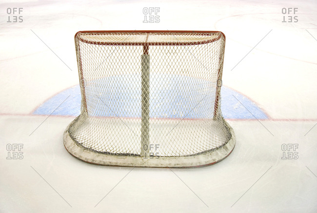 Empty ice hockey net