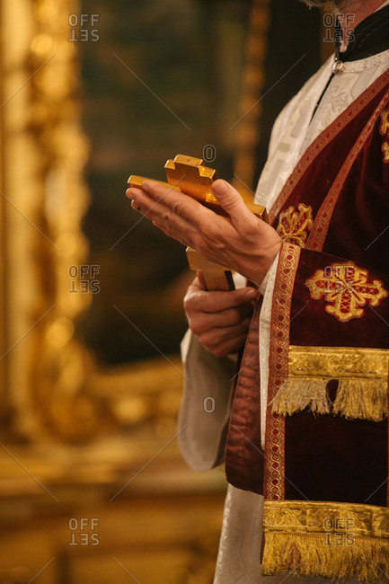 Orthodox priest holding a cross