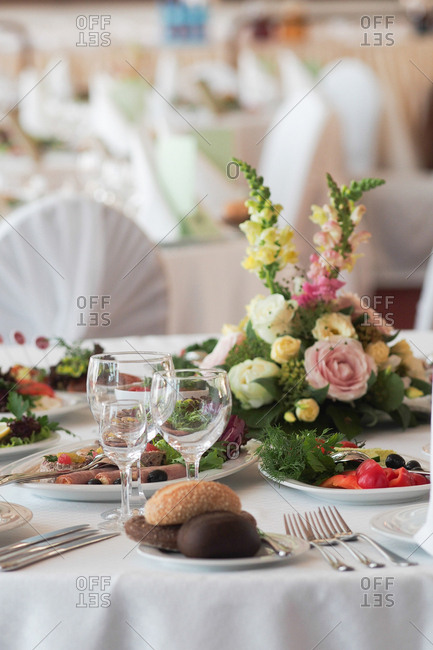 Food on a wedding reception table