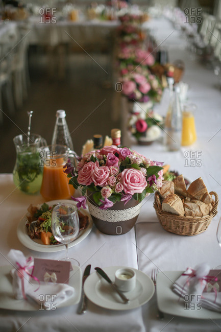Table with food for wedding banquet