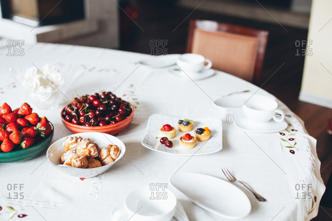 Fruit and desserts on a table