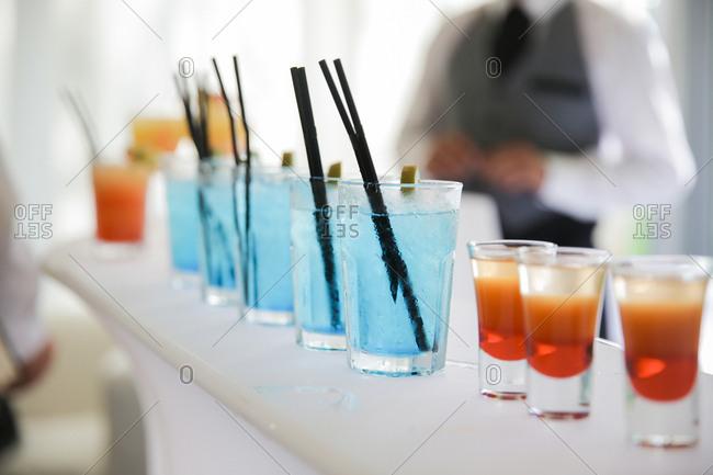 Festive drinks at wedding reception