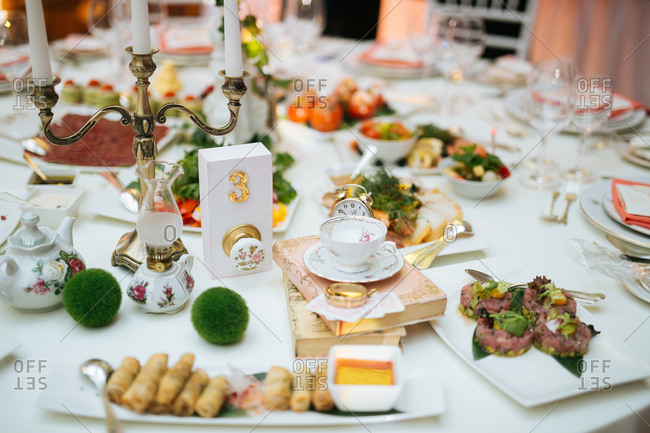 Whimsical decorations on hors d'oeuvres table