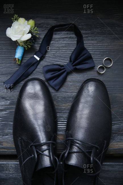 Men's wedding accessories from above
