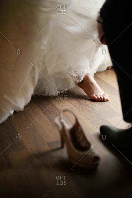 High heel on floor by bride