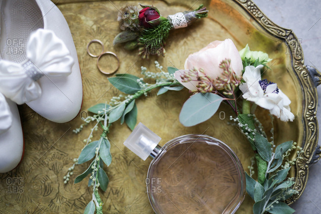 Various wedding accessories on tray