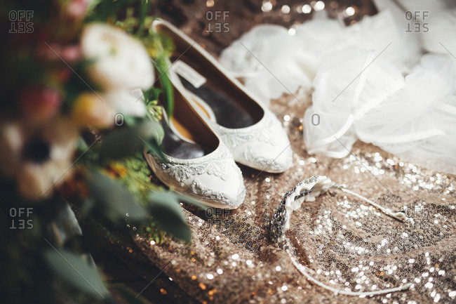 Wedding shoes in sparkly setting