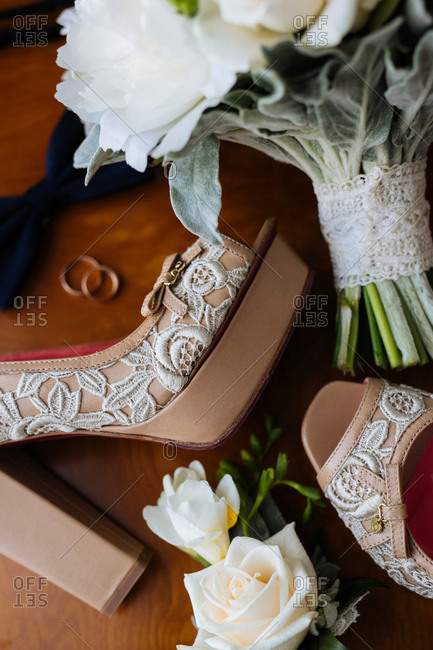 Various wedding accessories on wood background