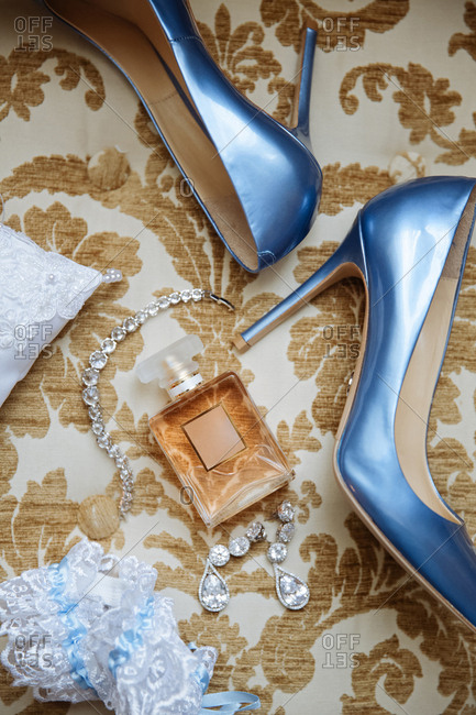 High heels with wedding jewelry