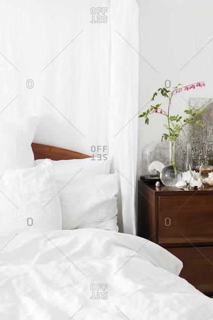 Bedside dresser in a home in Stockholm