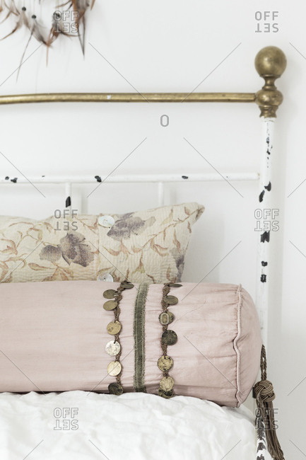Antique brass bed in a home in Stockholm