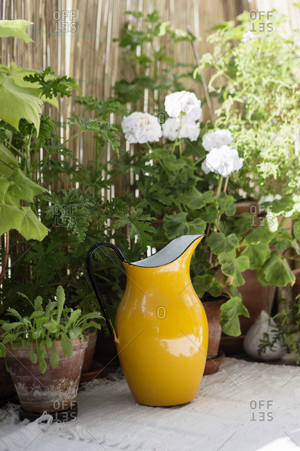 Yellow pitcher by flowers in a home in Stockholm