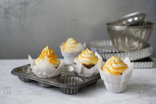 Cupcakes with yellow frosting