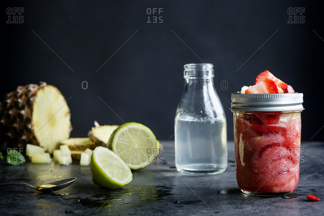 Strawberry and pineapple smoothie with coconut water