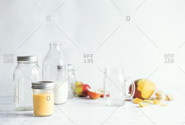 Mango, apple and banana smoothie