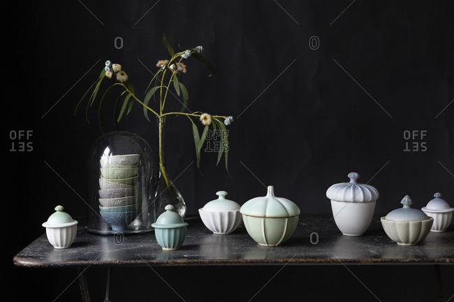 Ceramics and a eucalyptus plant