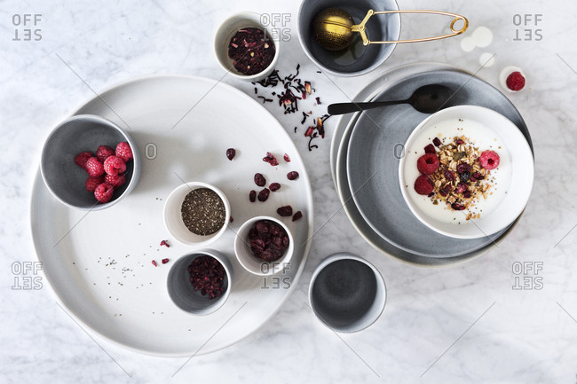 Breakfast table setting with tea