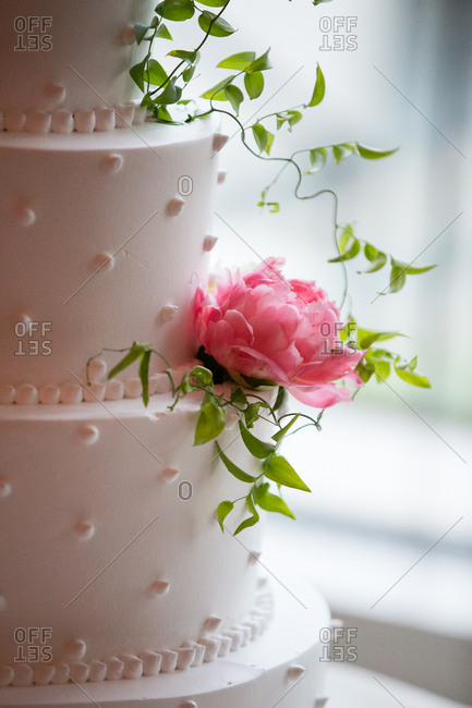 Tiered wedding cake garnished with greenery and pink flowers
