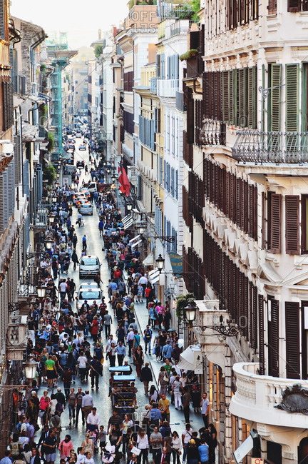 October 5, 2012 - Rome, Italy: Street crowded with pedestrians