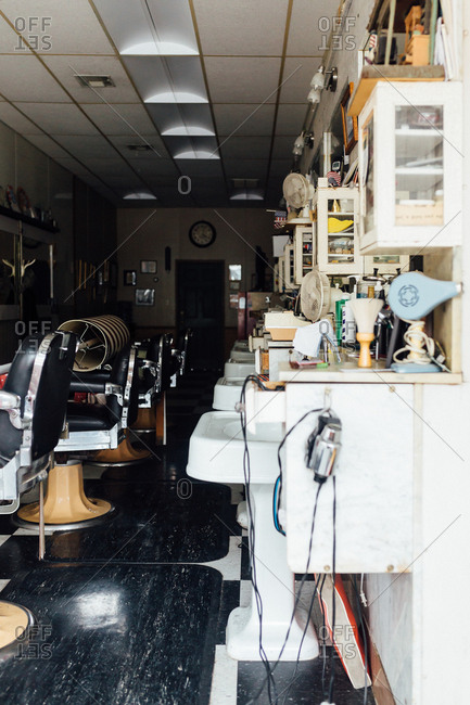 Chairs in a vintage barber shop