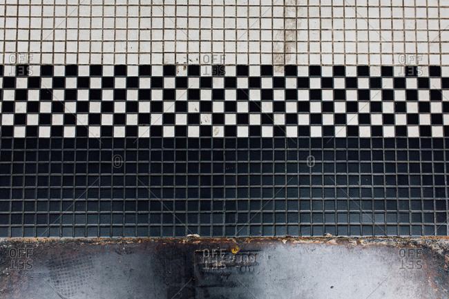 Vintage black and white tiled floor