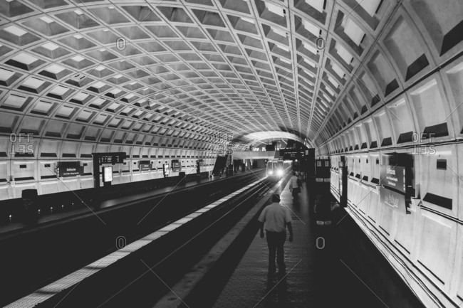 May 31, 2016 - Washington, DC: People in the Smithsonian Metro Station