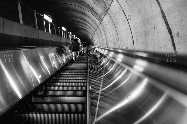 Up-escalator in the Washington Metro