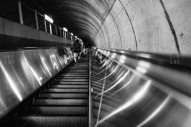 Up-escalator in the Washington Metro