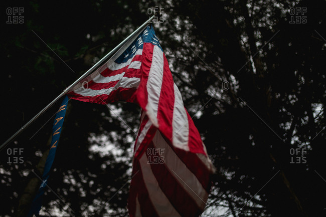 Low-angle view of American flag