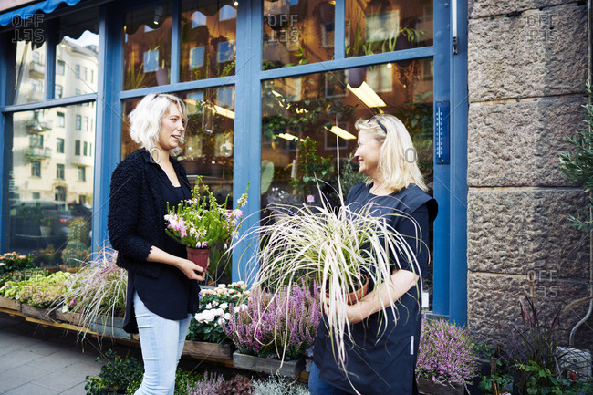 Sweden, Sodermanland, Stockholm, Sodermalm, Two florists talking while holding potted plant
