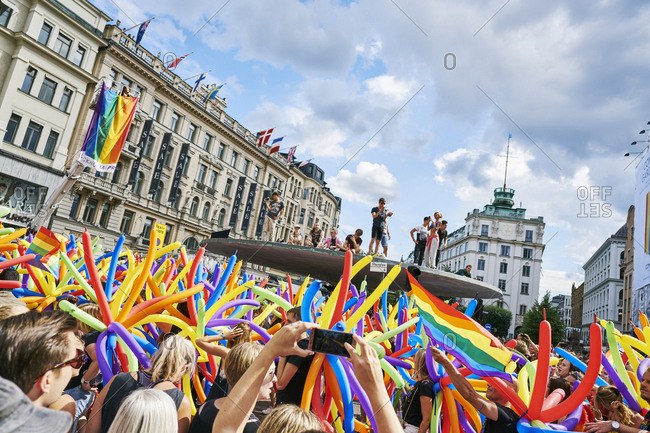 Sweden, Stockholm - October 26, 2016: Crowd at gay pride parade