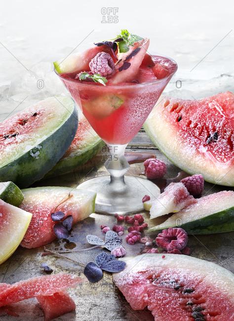 Sweden, Studio shot of watermelon cocktail