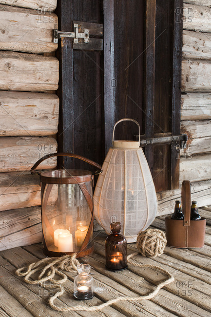 Sweden, Wooden patio with candles and lanterns