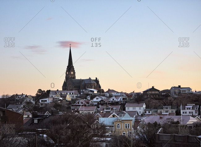 Sweden, West Coast, Lysekil, Scenic townscape at sunset
