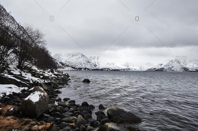 Norway, Lofoten, Scenic fjord in mountains in winter