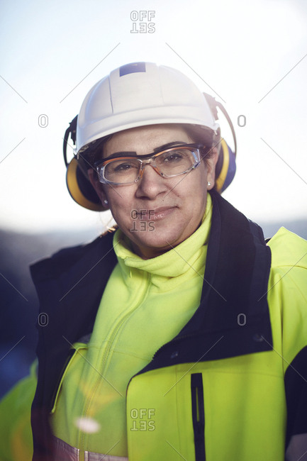 Sweden, Portrait of mature woman in protective clothing