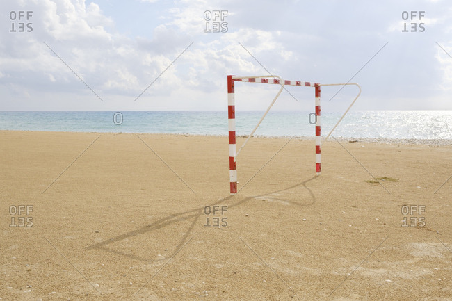 Spain, Altea, Beach soccer goal, sea in background