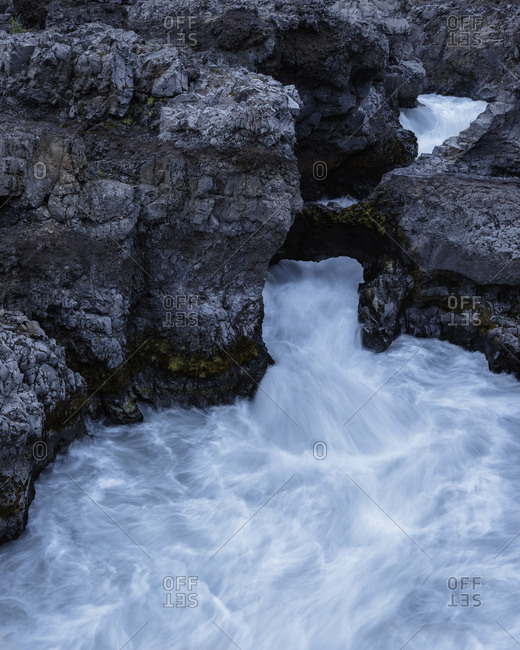 Iceland, Suournes, Hraunfossar waterfall