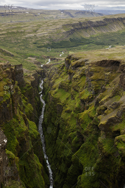 Iceland, Suournes, Glymur waterfall