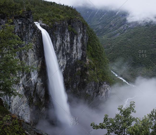 Norway, Jotunheimen mountain range and Utladalen valley with Vettisfossen waterfall
