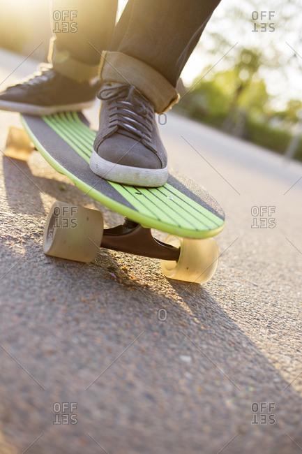 Sweden, Feet of man on skateboard