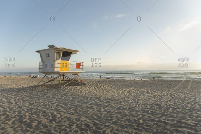 USA, California, San Diego, Lifeguard booth on beach