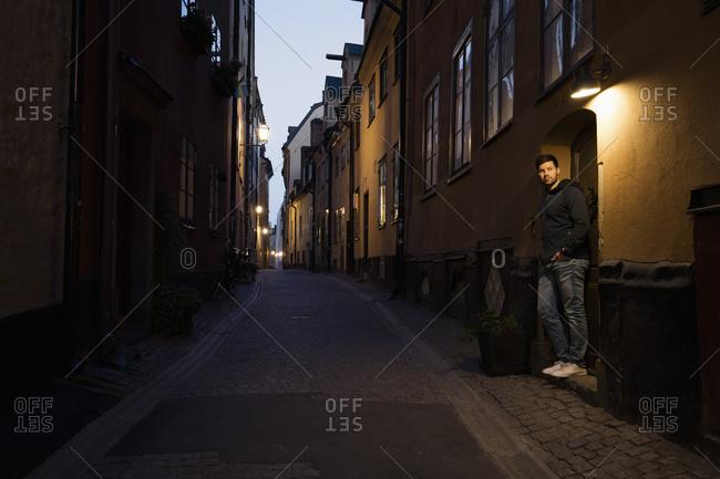 Sweden, Stockholm, City traffic at night